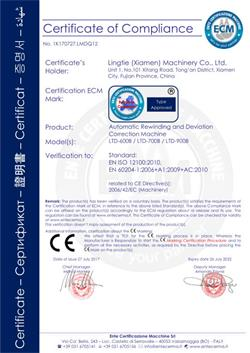 Ce certificat-rembobinage et déviation correction machine
